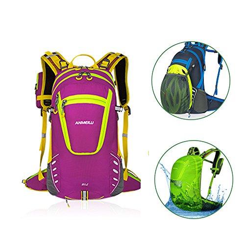 Fahrradrucksack mit Regenschutz 20L Nylon Licht Rucksack mit Handytasche für Radsport-Klettern Outdoor-Sport Rosa