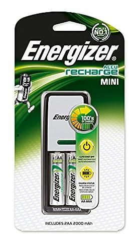 Energizer mini-chargeur original pour AA et AAA batterie (2 piles AA, 2000mAh)