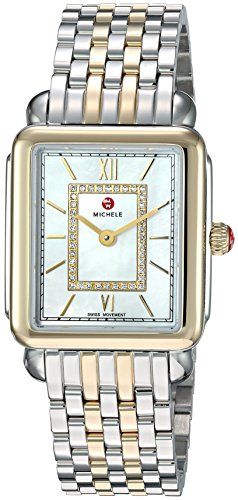 MICHELE Women's 'Deco Head' Swiss Quartz Stainless Steel Casual Watch, Color:Two Tone (Model: MWW06I000024)