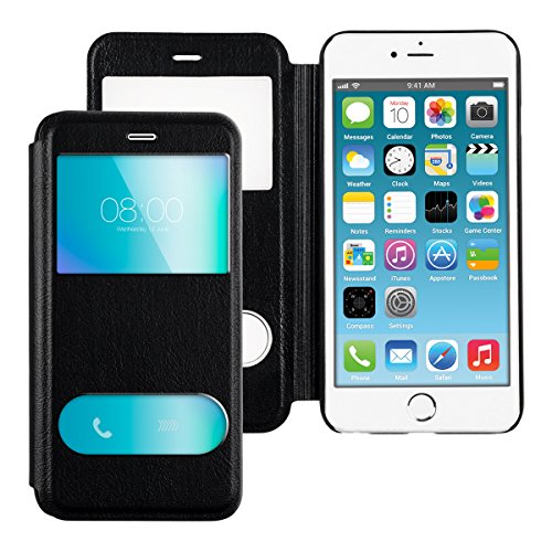 kwmobile Cover per Apple iPhone 6 Plus / 6S Plus - Custodia magnetica con apertura a libro e finestra di visualizzazione in pelle sintetica - Flip case nero .nero