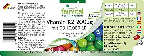 51FJtEZKCQL - Vitamina K2 200 mcg con D3 10000 IU - Altamente dosificado - 90 cápsulas solamente 1 cápsula cada 10 días - ¡Calidad Alemana garantizada!