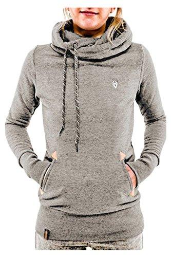 Les Femmes Des Sweatershirt Tuttle Cou Avec Cordon - Plus Haut Lightgrey