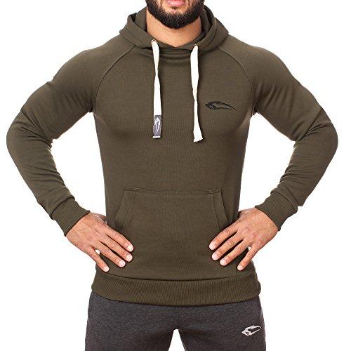 SMILODOX Slim Fit Kapuzenpullover Herren | Hoodie für Sport Fitness Gym Training & Freizeit | Trainingsjacke - Sportpullover - Sweatjacke - Kapuzenpulli mit Print Grün