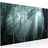 Bilder Wald Landschaft Wandbild 200 x 80 cm Vlies - Leinwand Bild XXL Format Wandbilder Wohnzimmer Wohnung Deko Kunstdrucke Blau 5 Teilig - MADE IN GERMANY - Fertig zum Aufhängen 607155c