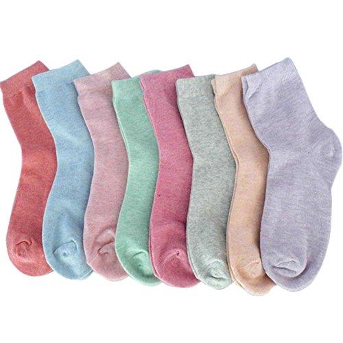 Leisial 5 pares Calcetines de Algodón Puro en Tubo Colores del Caramelo Engrosamiento de Otoño Invierno para Mujers