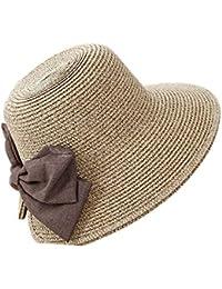 Butterme mujeres elegante sombrero de paja sombrero de sol con Big Bowknot da95c5088df