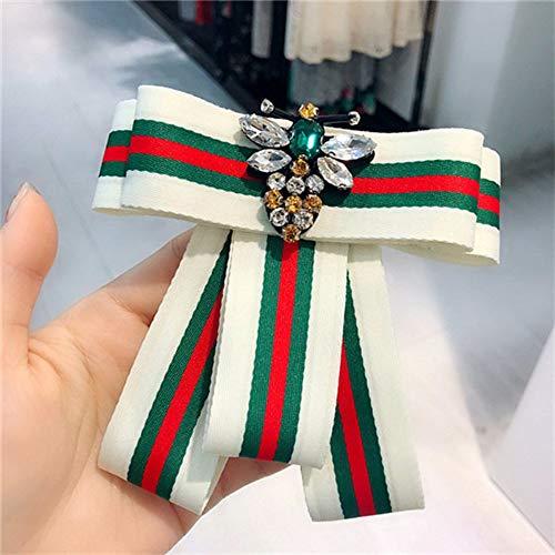 Gold Stripe Bow Tie (Stripe College Bee Strass Shirt Nadel Hals Bow Tie Bow Zubehör Modeschmuck Brosche Licht Gelb Gold Colo)