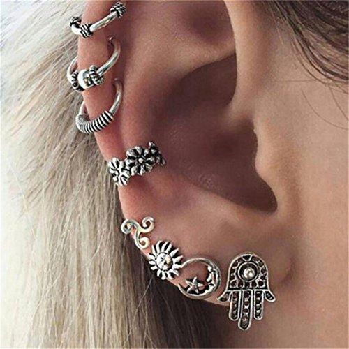Elistelle 8 Pcs Ohrringe Mode-Stil Zirkon Boho Muster Hypoallergen Ear Knochen Ohrringe