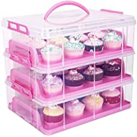 HBlife 3 Tiers Cake Carriers Adjustable Snap and Stack Cupcake Holder Container (Rosa)