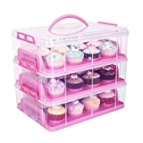 HBlife 3 stöckig Cake Carriers Kuchenbehälter mit Decke bequemem Tragegriff Kuchenbox Tortenbutler Verstellbarer Verschluss und Stapel Cupcake Holder Container(Rosa)