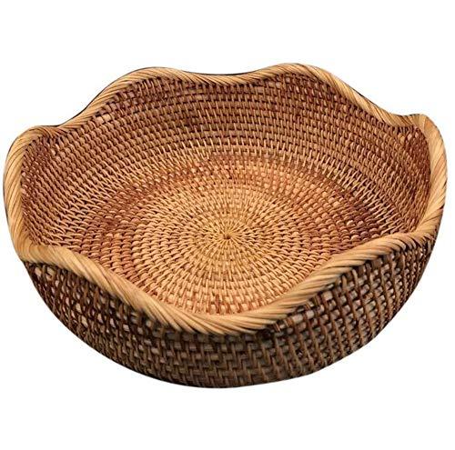 PORCN Obstschale Rattan Für Weben Runde Ablagekorb Handgemacht Für Küche Lebensmittel Picknick Brot Kleinigkeiten Dekor Container Organizer