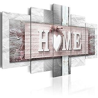 decomonkey Bilder Home Haus 200x100 cm XXL 5 Teilig Leinwandbilder Bild auf Leinwand Vlies Wandbild Kunstdruck Wanddeko Wand Wohnzimmer Wanddekoration Deko Textur rosa grau