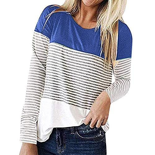 KUDICO Damen Tops Streifen Patchwork Rücken Spitze Lange Ärmel lose Hemd Bluse Sweatshirt Tunika T Shirt Nach Oben (Blau, EU-44/CN-2XL)