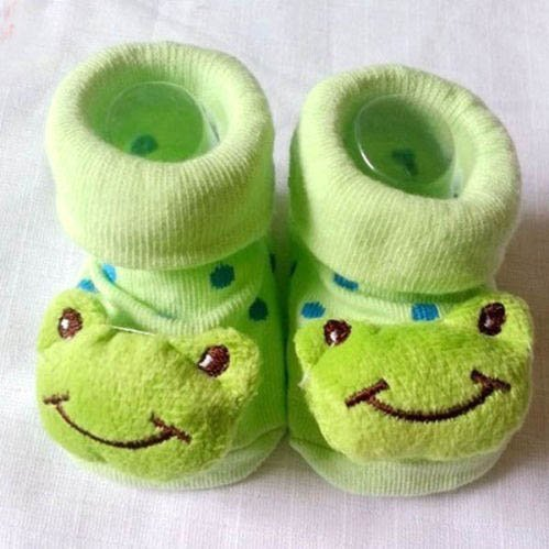 HuntGold süße Baby Kid Kleinkind Neugeborenes 3D Cartoon kurz Sock Slipper Kinder Bootie (Frosch)