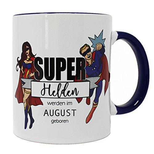 Superhelden Tasse Superhelden werden im August geboren - weiß, aus Keramik, spülmaschinenfest.