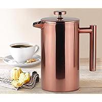 Kaffeebereiter Roségold French Press System Kaffeekanne Rostfreier Doppelwandiger Edelstahl thermoisoliert 1L 8 Tassen