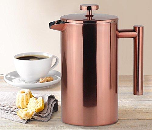 French Press Thermo Kaffeebereiter Rostfreier Edelstahl Doppelwandiger 1000mL 8 Tassen Roségold
