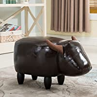 Preisvergleich für Pouffe Hocker Fußhocker Sofa Hocker Ottoman Hocker Ändern Schuhe Beach Fashion Kreative Kuh Tier, Leder, 4 Holzbeine (34 * 66 * 36cm) (Farbe : 3#, größe : Black Legs)