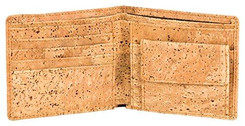 Geldbeutel aus Kork (Kork-Stoff). Alternative zu tierischem Leder. Kork Portemonnaie, Geldbörse Korkgeldbeutel Korkportemonnaie. 4 Fächer für Karten + 2 für Scheine + Münzfach von Kork-Deko