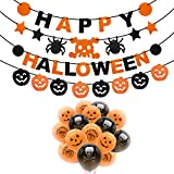 Rorchio Halloween Party Decorations,3pcs Happy Halloween Banner Pumpkin Ghost Banner and 30pcs Halloween Balloons for Halloween Indoor Outdoor Decor