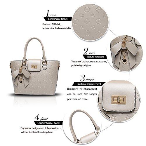 Sunas Nuove donne / signore di spalla di cuoio della borsa del Tote PU brevetto in rilievo di alta qualità Champagne Oro Bianco sporco