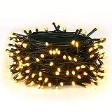 LED Lichterkette, 20m 200 LED Warmweiß Weihnachten Kette Leuchte Lichterketten EU Stecker 8 Modi Wasserdicht für Weihnachten für Innen & Außen Garten Party Geburtstag Hochzeit