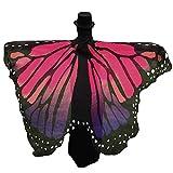 AiSi Damen Strand Überwurf, Chiffon Schal, Schmetterling Kostüm, Schmetterling Flügel Schal, für Cosplay Weihnachten und Urlaub am Strand Rot