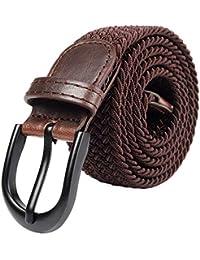 Mile High Life Cinturón elástico trenzado elástico con pasador ovalado  Hebilla completa de cuero negro con hombre… 9432b8264da0