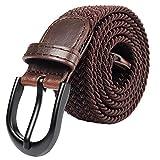 Cintura elastica intrecciata con fibbia ovale Fibbia nera con fibbia in pelle con uomo/donna / Junior (marrone, XX-Large 111cm-116cm (lunghezza 131,5cm))