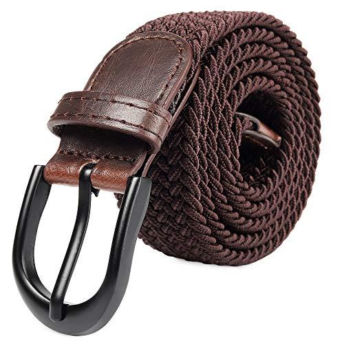 Elastischer, geflochtener, elastischer Gürtel mit ovaler Nadel Schwarzer, vollerer Schnalle Lederschnalle mit Mann/Frau / Junior-Ende (braun, groß 91cm-96cm (111.5cm Länge))