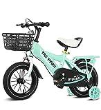 SXMXO Bicicleta Montaña 12' 14' 16' 18' Bicicleta Infantil Niño Y Niña | 12 14 16 18 Pulgadas | A Partir De 3 Años | V-Brake Y Freno De Contrapedal | Modelo BMX 2019,Green,12inches