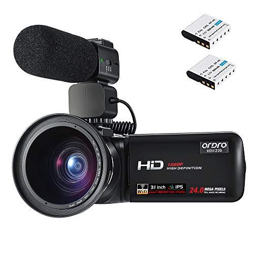 Camcorder Videokamera, ORDRO Full HD 1080P Camcorder Video Kamera (FHD, WiFi, 30FPS, 24MP, Pausenfunktion) mit Externem Mikrofon, Weitwinkelobjektiv für Geburtstagsgeschenk