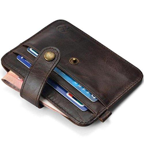 LHWY Tarjeta De Crédito Slim Soporte Mini Cartera ID Caso Monedero Bolso Bolsa (Marrón)