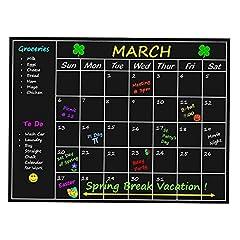 Idea Regalo - Top Home Solutions®, lavagna con calendario mensile per pianificazioni, adesivo, calendario da parete