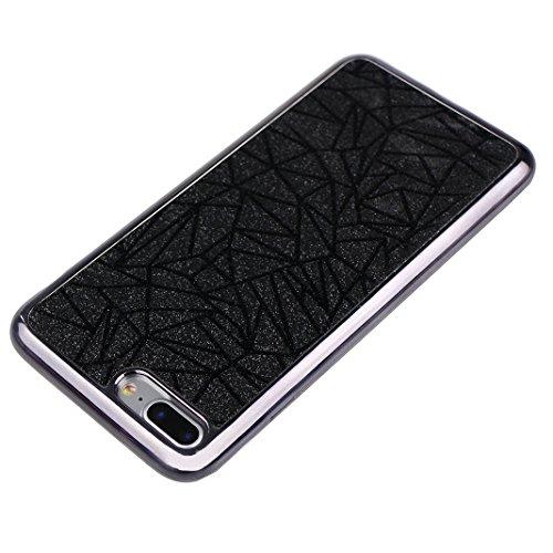2 PCS iPhone 7 Plus / 8 Plus 5.5 Zoll Glitter Case, iPhone 8 Plus Tasche Glitzer, iPhone 7 Plus Tasche Glitzer, Moon mood® Kristall Sparkle Schutzhülle für Apple iPhone 7 Plus mit Streifen Thin Dünn W Schwarz