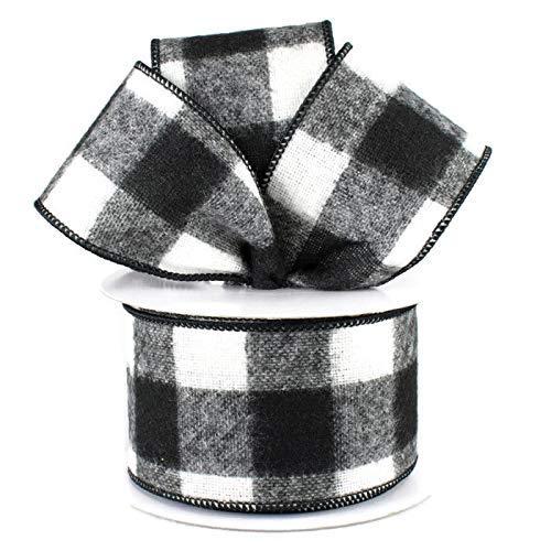 Schwarz Weiß Karo Check Flanell (Fuzzy groß kariert Plaid Drahtkante, Band, 6,3cm X 10Meter 2.5