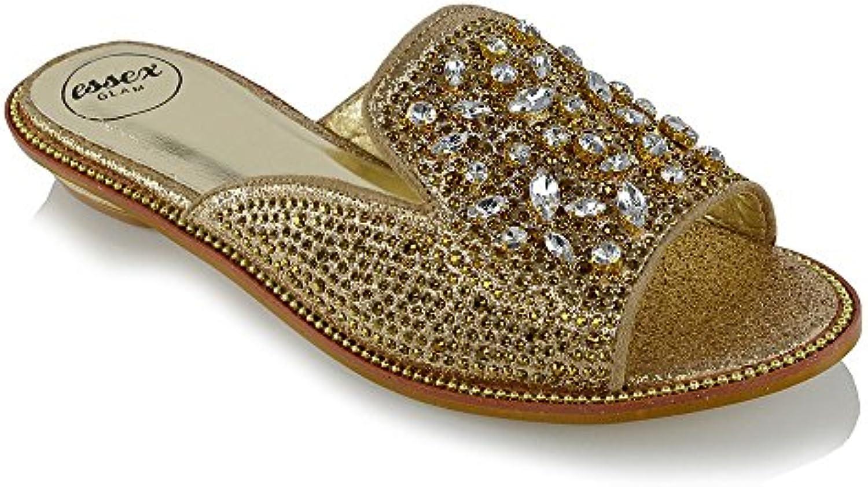 f0db935f979a ESSEX GLAM Womens Slip On Sandals Sandals Low Heel Heel Slider Sparkly  Ladies Sparkly Rhinestones Mule Shoes B073QVDQNR Parent 03fcc99 -  www.bmlcreations. ...