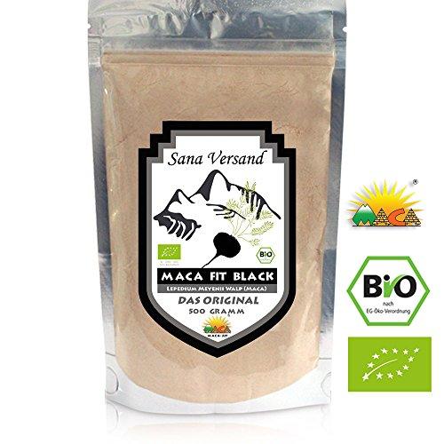 BIO Maca Black Pulver 500g Original aus Peru. Reines schwarze Maca Wurzel enthält Vitamine, Aminosäuren und Proteine für mehr Kraft Konzentration und Energie. Vegan, glutenfrei für Allergiker