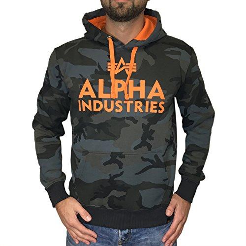 Alpha Industries Foam Print Hoody Herren Pullover Kapuzenpullover 143302 black camo orange