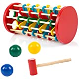 TOYMYTOY Wooden Pounding Hammer Toy with Hammer Knock The Ball Off Ladder Kids Children Early Educational Toys