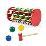 TOYMYTOY Rampa torre con palline e martello in legno per giochi e giocattoli o regalo di bambini