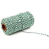 highouse trusted 100meters/roll 2ply Bakers Twine String Cotton Cords Rope for Home Decor Handmade Packing Craft Projects DIY(None 21 green + white)
