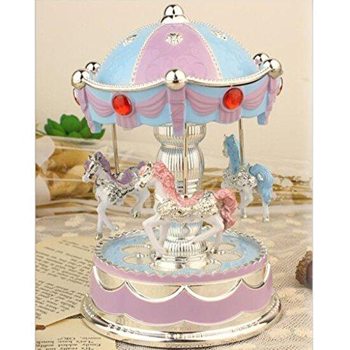 XuanMax Carrusel Caja de Musica 3 Caballo Merry-Go-Round Juguete con To Alice Melodia Luz de Noche para Navidad Cumpleanos San Valentin - Azul