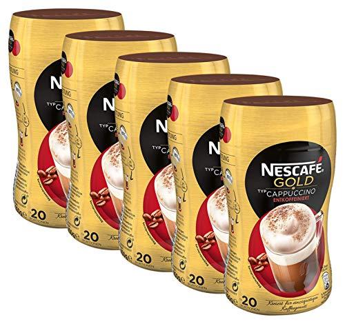 NESCAFÉ GOLD Typ Cappuccino Entkoffeiniert, löslicher Bohnenkaffee aus erlesenen Kaffeebohnen, ohne Koffein, vollmundig & aromatisch, 5er Pack (5 x 250 g)