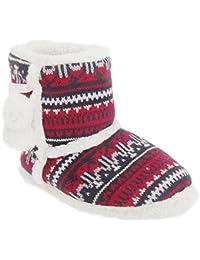 Zapatillas / botas de estar por casa de punto con exterior polar y detalle de pompón para mujer