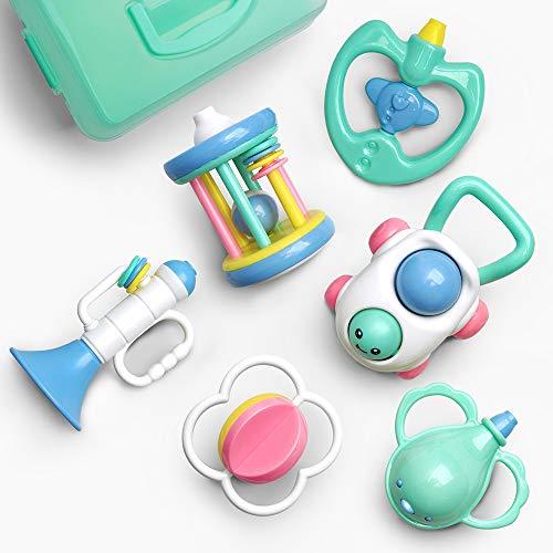 GizmoVine Rassel Baby Spielzeug Baby Rassel Set mit Aufbewahrungsbox ohne BPA Spielzeug für 0,3,6,9,12 Monate und Neugeborene (6 pcs)