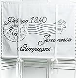 Poststempel Raffgardine weiß grau bedruckt 100x120cm Gardine Raffrollo Landhaus Shabby Chic Vintage Franske Leinenoptik
