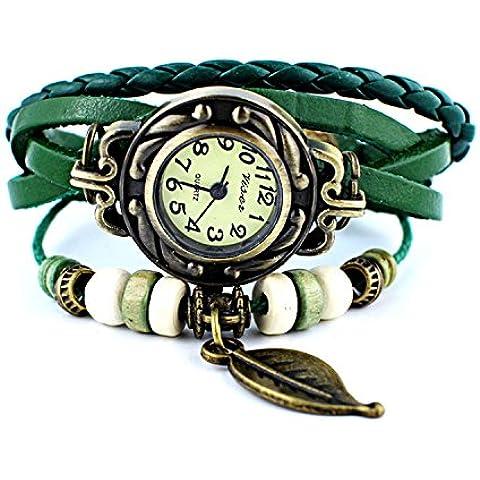 TheWin - Orologio da polso da donna con pendente a foglia - Verde Del Pendente Del Quarzo