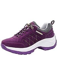 Zapatos mujer senderismo deportes de todas las estaciones,Sonnena zapatos de mujer de moda Zapatillas de plataforma deportivas de cuero sin tapa de Nubuck