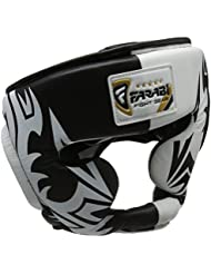 Head Guard Protector Boxe Casque MMA Training Pro Full Face, Protection de Cheek Real Leather Coiffe